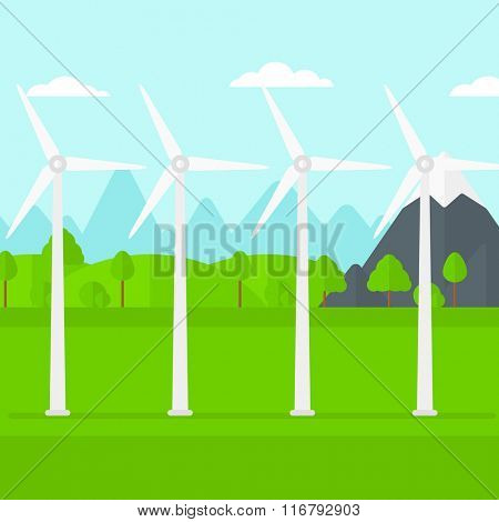 Background of wind turbines in mountains.