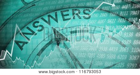 Stocks and shares against compass pointing to answers