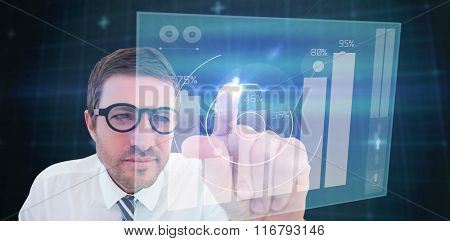 Businessman pointing with his finger against percentages graphical representation