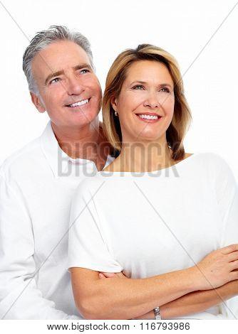 Happy loving elderly couple.