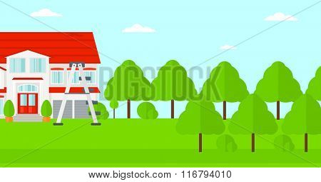 Background of house with step ladder.