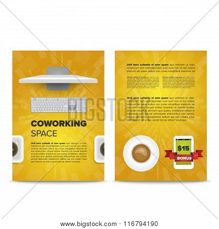 Coworking space leaflet template