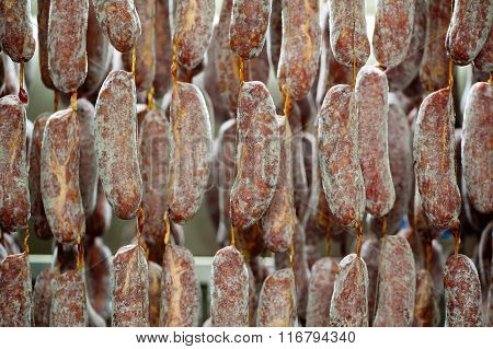 Freshly Packed Sausages Curing In Factory