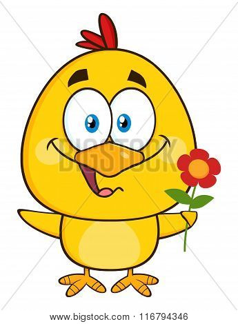Cute Yellow Chick Cartoon Character Holding A Flower
