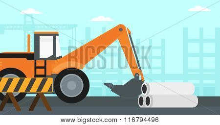 Background of excavator on construction site.