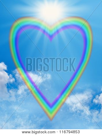 Rainbow love heart blue sky frame