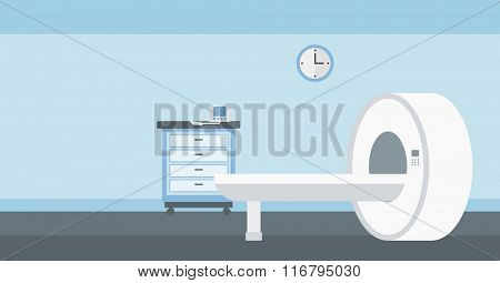 Background of hospital room with MRI machine.