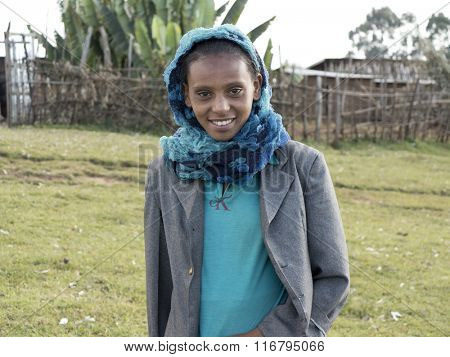 OROMIA, ETHIOPIA-NOVEMBER 5, 2014: Portrait of unidentified Ethiopian girl in the highlands of Ethiopia