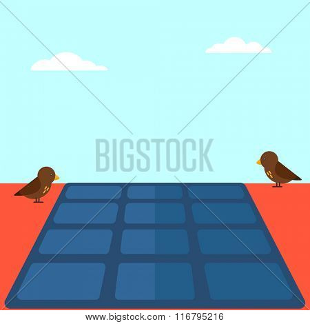 Background of solar panel on the roof.