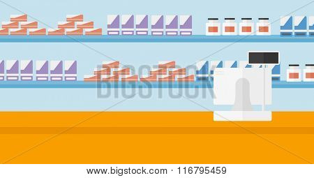 Background of pharmacy with cash box.