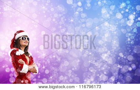 Santa girl in suit