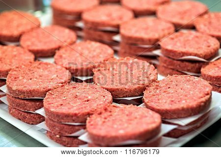 Stacks Of Raw Hamburger Meat