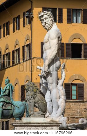 Fountain of Neptune in Florence, Piazza della Signoria, Italy. The fountain was commissioned in 1565 and is the work of the sculptor Bartolomeo Ammannati.