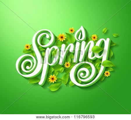 Spring Typography Title Concept in 3D with Long Shadow