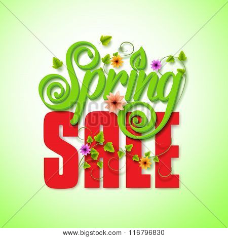 Spring Sale Word for Seasonal Promotion with Flying Leaves