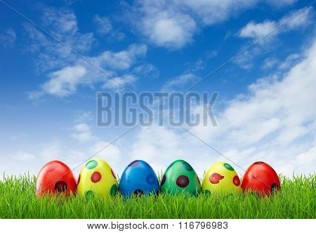 Spotted Easter Eggs In Grass