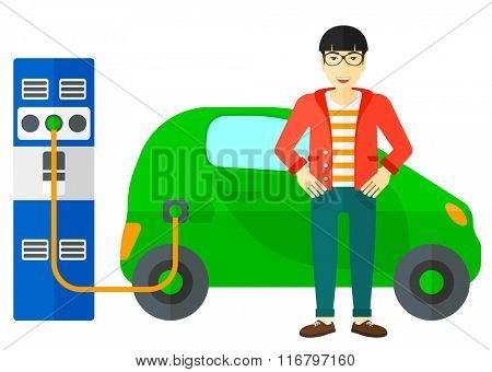 Charging of electric car.