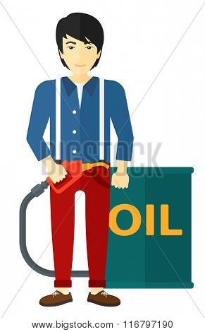 Man with oil can and filling nozzle.