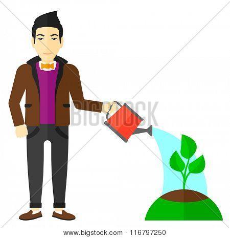 Man watering tree.