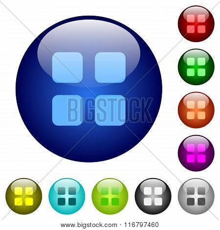 Color Large Grid View Glass Buttons