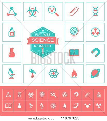 Vector science icons set.Trendy science vector elements.  Modern flat design.