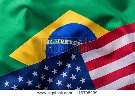 USA and Brazil. Usa flag an Brazil flag