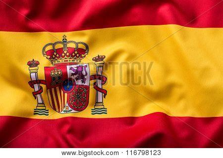 Waving flag of Spain. Spain Flag