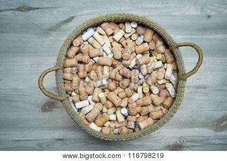 Wicker Basket With Wine Corks