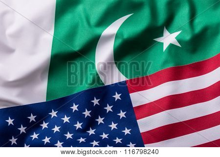 Usa and Pakistan. USA flag and pakistan flag.