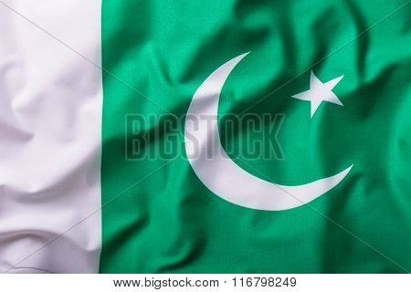Pakistan flag. Waving colorful Pakistani  flag