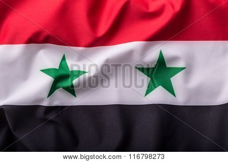 Syria flag. Waving colorful Syria flag.