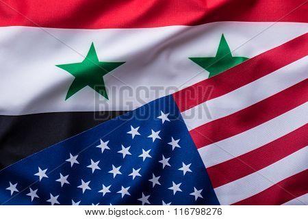 USA and Syria. Usa flag and Syria flag