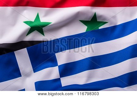 Greece and Syria. Greece flag and syria flag