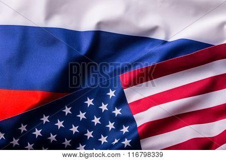 USA and Russia. Usa flag and Russia flag