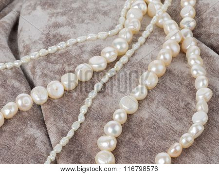 Pearl Beads On A Velvet Cloth