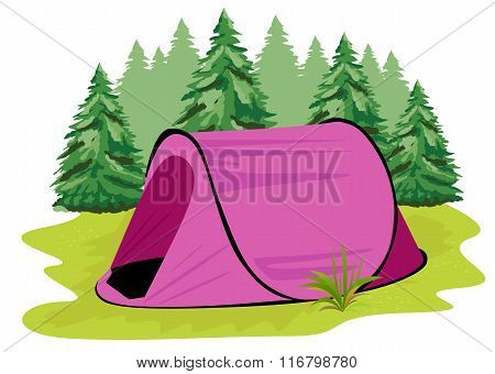 pink camping tent standing on a glade on the background of coniferous forest