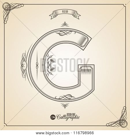 Calligraphic Fotn with Border, Frame Elements and Invitation Design Symbols. Collection of Vector glyph. Certificate and Decor Design Elements. Hand written retro feather Symbol. Letter G