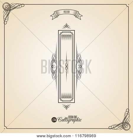 Calligraphic Fotn with Border, Frame Elements and Invitation Design Symbols. Collection of Vector glyph. Certificate and Decor Design Elements. Hand written retro feather Symbol. Letter I