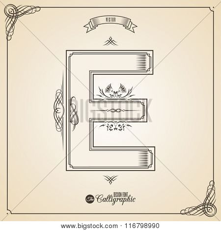 Calligraphic Fotn with Border, Frame Elements and Invitation Design Symbols. Collection of Vector glyph. Certificate and Decor Design Elements. Hand written retro feather Symbol. Letter E