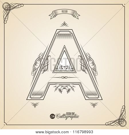 Calligraphic Fotn with Border, Frame Elements and Invitation Design Symbols. Collection of Vector glyph. Certificate and Decor Design Elements. Hand written retro feather Symbol. Letter A