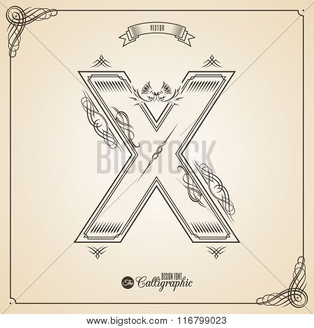 Calligraphic Fotn with Border, Frame Elements and Invitation Design Symbols. Collection of Vector glyph. Certificate and Decor Design Elements. Hand written retro feather Symbol. Letter X
