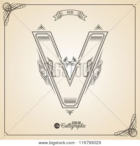 Calligraphic Fotn with Border, Frame Elements and Invitation Design Symbols. Collection of Vector glyph. Certificate and Decor Design Elements. Hand written retro feather Symbol. Letter V