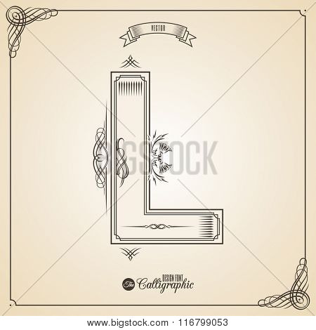 Calligraphic Fotn with Border, Frame Elements and Invitation Design Symbols. Collection of Vector glyph. Certificate and Decor Design Elements. Hand written retro feather Symbol. Letter L