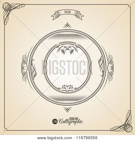 Calligraphic Fotn with Border, Frame Elements and Invitation Design Symbols. Collection of Vector glyph. Certificate and Decor Design Elements. Hand written retro feather Symbol. Letter O