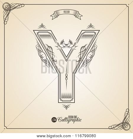 Calligraphic Fotn with Border, Frame Elements and Invitation Design Symbols. Collection of Vector glyph. Certificate and Decor Design Elements. Hand written retro feather Symbol. Letter Y