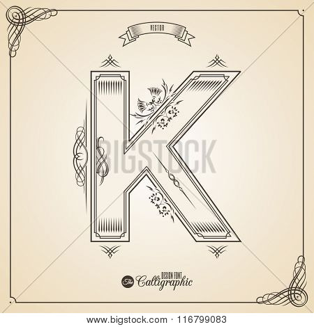 Calligraphic Fotn with Border, Frame Elements and Invitation Design Symbols. Collection of Vector glyph. Certificate and Decor Design Elements. Hand written retro feather Symbol. Letter K