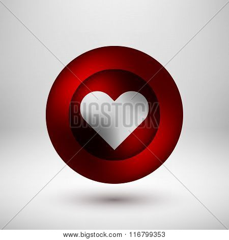 Red Love Bubble Badge