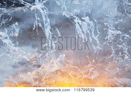 Glacial Transparent Wall Of Ice With Patterns.