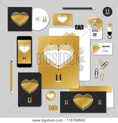 Corporate Identity Business Set Design. Vector Stationery Template Design With Valentines Day Elemen