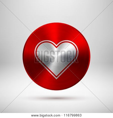 Red Abstract Heart Sign On Metal Texture
